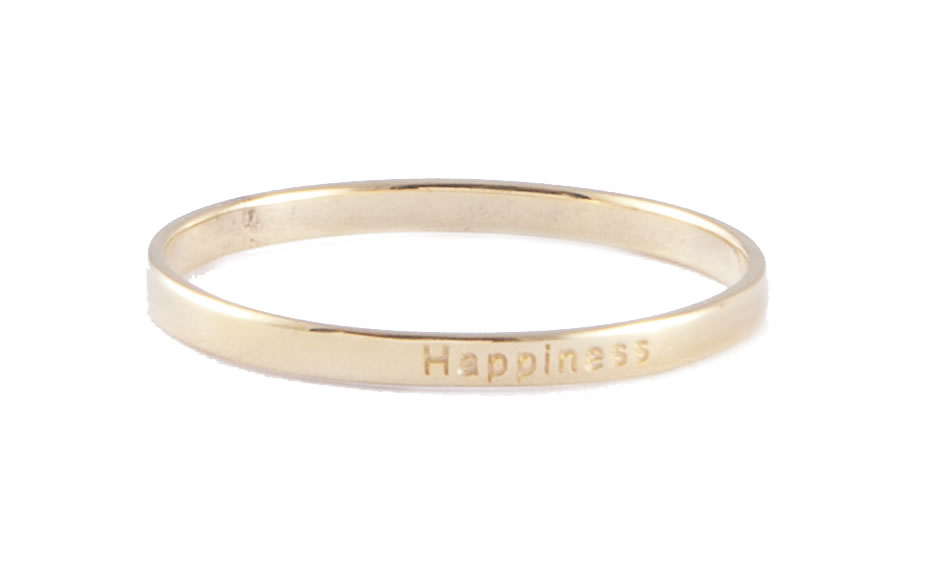 Gold-plated stacking ring with happiness inscription